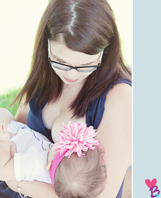 Mother-daughter breastfeeding photo shoot in the park