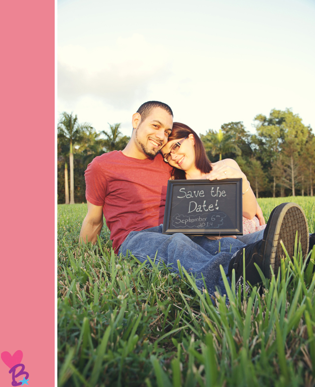 Save the date chalkboard engagement photo