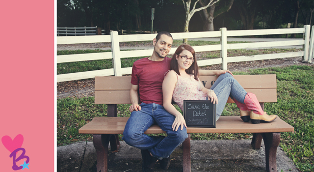 Engagement photo save the date bench