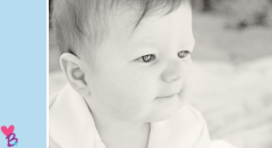 Beach shoot closeup baby eyes black and white